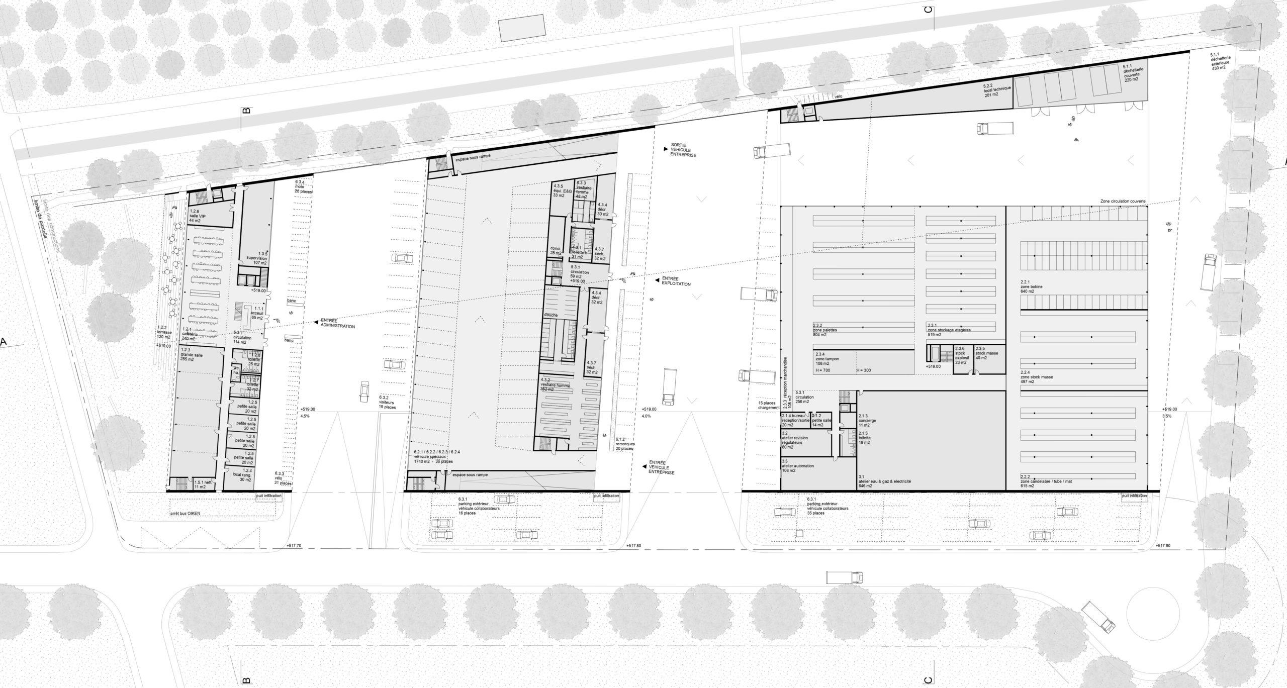 concours- d'architecture pour le nouveau centre technique et logistique - Oiken - plan