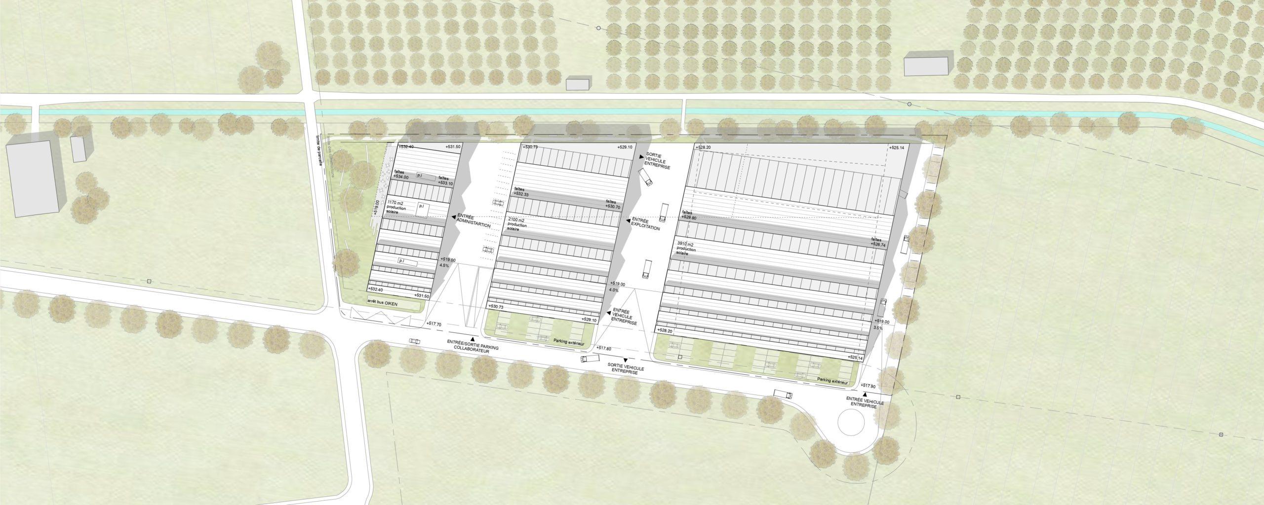concours- d'architecture pour le nouveau centre technique et logistique - Oiken - situation