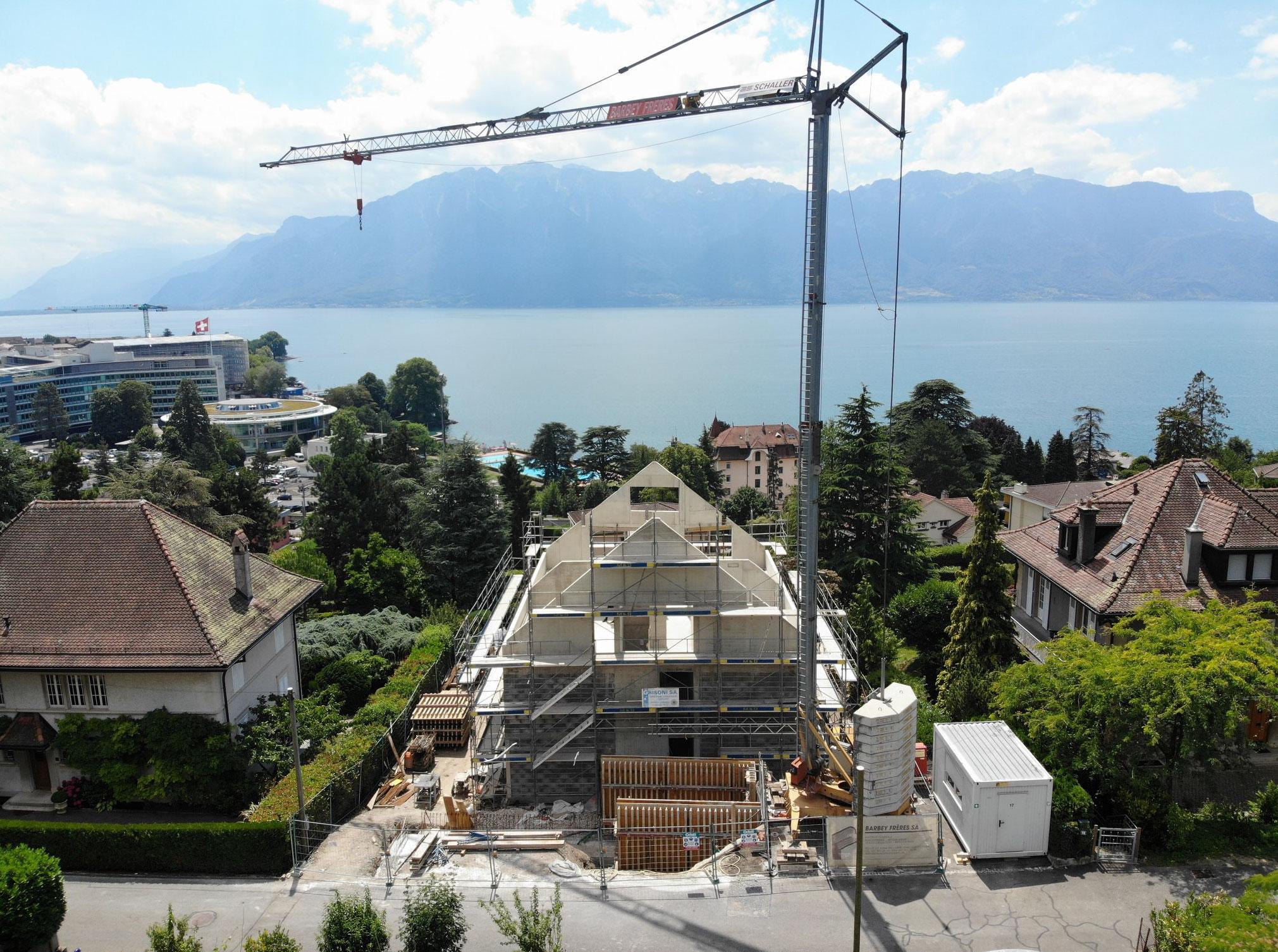démolition et construction d'un immeuble de 3 appartements à corseaux - vaud - chantier